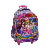 Tas Trolley Anak TK Import - Aikatsu 5D Timbul Hologram - Purple