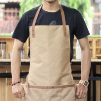 Apron Canvas and Synthetic Leather brown