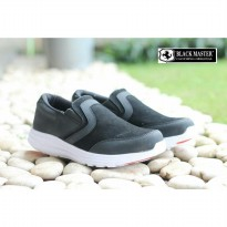 Sepatu Slip On Sneakers Branded Black Master Moskow Original || Ready 39-43