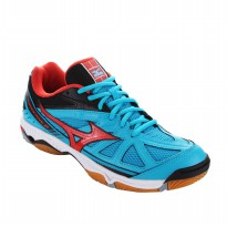 SEPATU VOLLEY/BADMINTON MIZUNO WAVE HURRICANE 2 - ATOMIC BLUE / FIESTA / BLACK V1GA164054 STOK39SD47