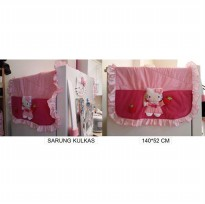 Sarung Cover Tutup Kulkas Hello Kitty Strawberry