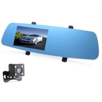 [globalbuy] New 5 Inch Car DVR Mirror With Rearview Camera Video Recorder DVR With Two Cam/4519460
