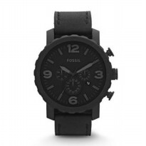 Jam Tangan Fossil JR-1354 Pria All Black Leather Original Warranty Two Year