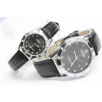 JAM TANGAN COUPLE ROLEX OYSTER LEATHER+DATE -SILVER FULL BLACK