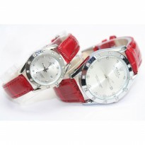 JAM TANGAN COUPLE ROLEX OYSTER LEATHER+DATE -SILVER RED