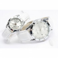 JAM TANGAN COUPLE ROLEX OYSTER LEATHER+DATE -SILVER WHITE