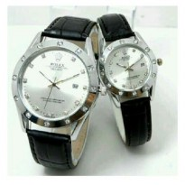 NEW ROLEX OYSTER LEATHER+DATE COUPLE BLACK (HARGA SEPASANG)