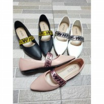 Sepatu Flat Shoes Merek OFF White 3 Warna UK 35 - 40 Semprem