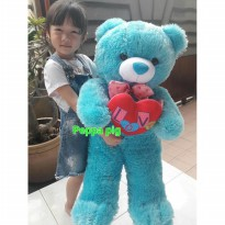 Boneka teddy bear love biru