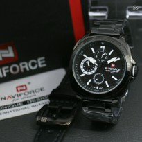 Jam Tangan Pria Naviforce K700 Original Rantai Black White