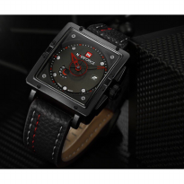 Jam Tangan Pria / Cowok Naviforce Segi Original Leather Black Red