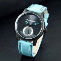 Jam Tangan Pria / Cowok Murah Hush Puppies Clasic Leather Blue