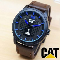 Jam Tangan Pria / Cowok CATapillar Daydate Leather DarkBrown list Blue