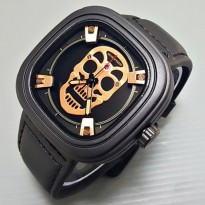 Jam Tangan Pria / Cowok Seven Friday Skull Leather Black Rose
