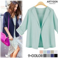 9 different colors! Roll-up sleeve jacket / Silky material / Open jacket / Light and cool fabric [Silky Han you] [CA58] korean fashion style K-fashion