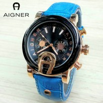 Jam Tangan Wanita / Cewek Aigner MTH33 Polos Leather Light Blue