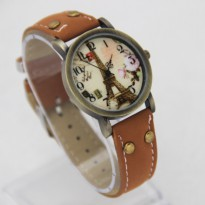 Jam Tangan Cewek Eiffel Vintage Leather Brown