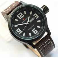 Jam Tangan Murah Swiss Army Kulit Leather Angka TW Dark Brown list White