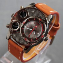 Jam Tangan Pria Kulit Swiss Army BA625 Brown Leather List Red
