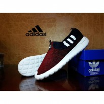 Sepatu Casual Adidas Cloudfoam Slip On Maroon New