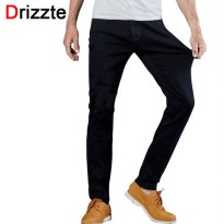 [globalbuy] Drizzte Mens Jeans Black High Stretch Denim Brand Men Jeans Size 30 32 34 35 3/4138098