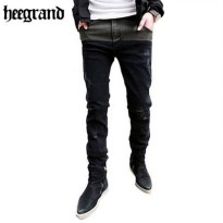 [globalbuy] HEE GRAND 2016 Fashion Casual Mens Skinny Jeans Patchwork Denim Trousers Rippe/4138056
