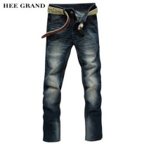 [globalbuy] HEE GRAND Hot Sale Mens Fashion Jeans Straight Denim Trousers Solid Color Gras/4137940