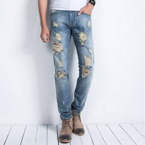 [globalbuy] HEE GRAND 2016 Spring Fashion Male Ripped Jeans Washing Trendy Denim Trousers /4137823