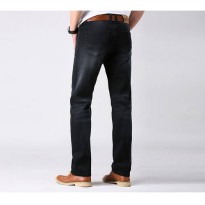 [globalbuy] Autumn and winter male straight jeans ultra elastic vintage black mens clothin/4137756