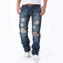 [globalbuy] 2016 fashion ripped jeans men, slim printed jeans Classic models wholesale fas/4137738