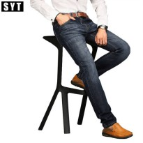 [globalbuy] New jeans men new Fashion trousers straight slim mid waist popular mens jeans /4137679