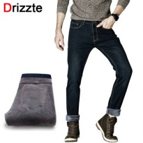 [globalbuy] Drizzte Mens Winter Fleece Jeans Lined Stretch Denim Warm Black Jeans For Men /4137753