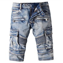 [globalbuy] Mens casual vintage blue pockets biker jeans Summer knee length denim shorts/4137547