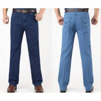 [globalbuy] Mens Summer Thin Fabric Straight Jeans Male High Waist Casual Business Denim P/4137502