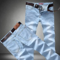 [globalbuy] 2015 men Light blue jeans male thin straight denim long trousers loose trouser/4137488