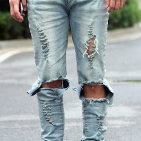 [globalbuy] 2016 Mens New Middle Waist Hole Jeans Male Korean High Street Character Design/4137492