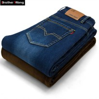 [globalbuy] Brother Wang New winter male Brand jeans Fashion Slim comfortable denim trouse/4137454