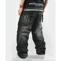[globalbuy] 2015 Spring Men Loose Jeans Hip Hop Embroidery skateboarders baggy pants trous/4137362