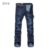 [globalbuy] New Men Jeans Blue Denim Pants Straight Fashion Korean Style Slim Fit Casual F/4137340