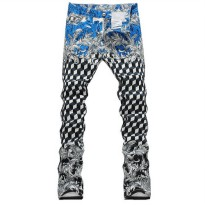 [globalbuy] Mens new geometric print jeans Male fashion slim elastic thin denim pants Long/4137330