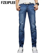 [globalbuy] Skinny jeans men Straight Long Denim Emaciation Trousers Fashion Solid Pockets/4137267