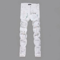 [globalbuy] 2016 New Fashion Men Colour Painted Ripped Jeans Slim Fit White Stretch Jean T/4137265