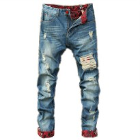 [globalbuy] Men Ripped Jeans 2016 Runway Distressed Slim Mens elastic jeans denim Biker Je/4137178