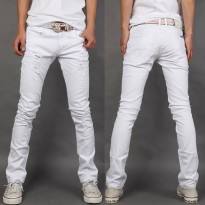 [globalbuy] New spring and summer 2016 mens large size mens white jeans Korean fashion cas/4137192