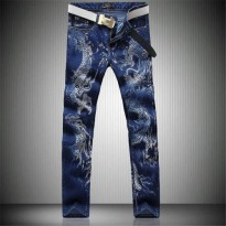 [globalbuy] 2016 men jeans new Chinese style personality fashion animal dragon pattern pri/4137191