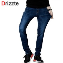 [globalbuy] Drizzte Jeans Mens Brand High Quality Stretch Blue Denim Jeans Fashion Pleated/4137171