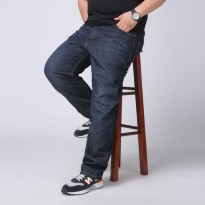 [globalbuy] Big and Tall Mens Black Plus Size Jeans Loose Straight Denim Pants Solid Dark /4137119