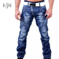 [globalbuy] 2016 Arrival New Designer Jeans Men Fashion Casual Zip Blue Ripped Jean Washed/4137153