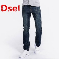 [globalbuy] High Quality Men`s Jeans Dark Blue Print Denim Jeans Ripped Trousers Slim Stra/4137148