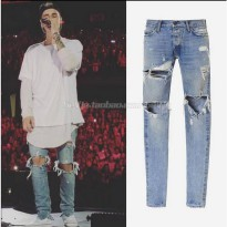 [globalbuy] Justin Bieber Fear of God Best Version FOG Men Selvedge Zipper Destroyed Tour /4137097
